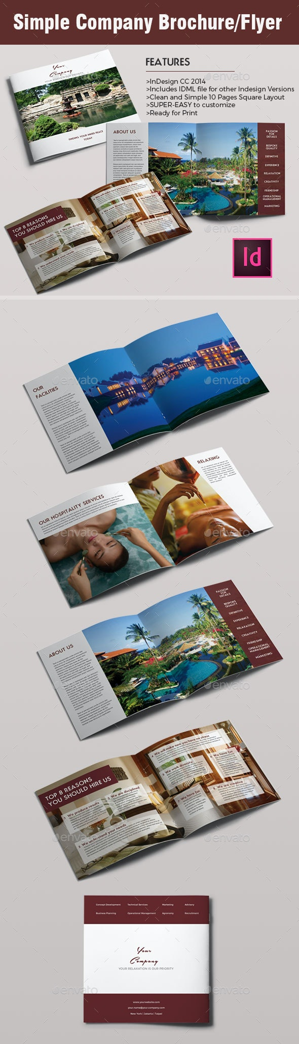 Simple Modern Company Brochure or Flyer Template - Brochures Print Templates