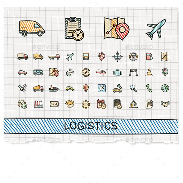 Logistic Hand Draw Line Icons. Doodle Sketch Set