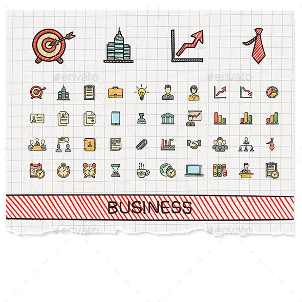 Business Hand Draw Line Icons. Doodle Sketch Set
