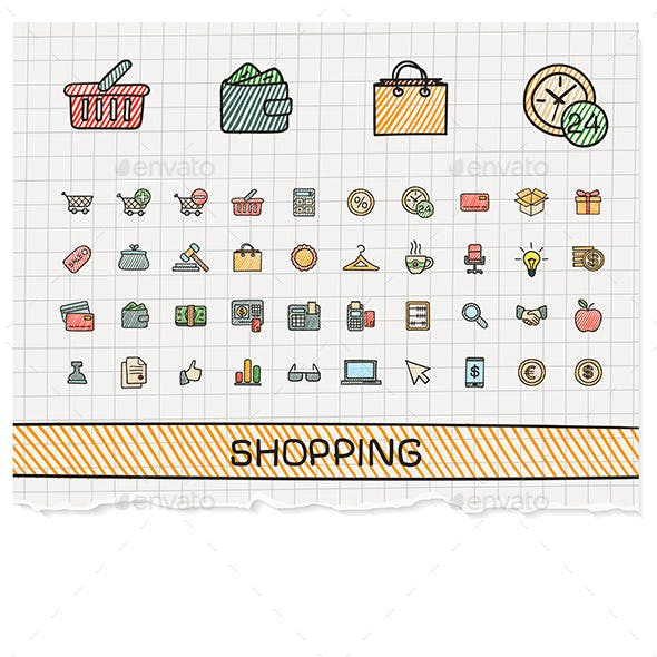 Shopping Hand Draw Line Icons. Doodle Sketch Set
