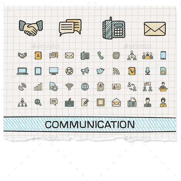 Communication Hand Draw Line Icons. Doodle Sketch