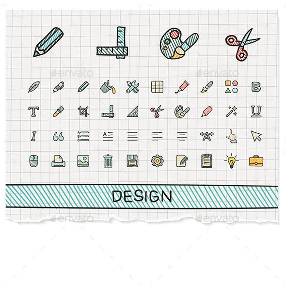 Design Tools Hand Draw Line Icons. Doodle Sketch