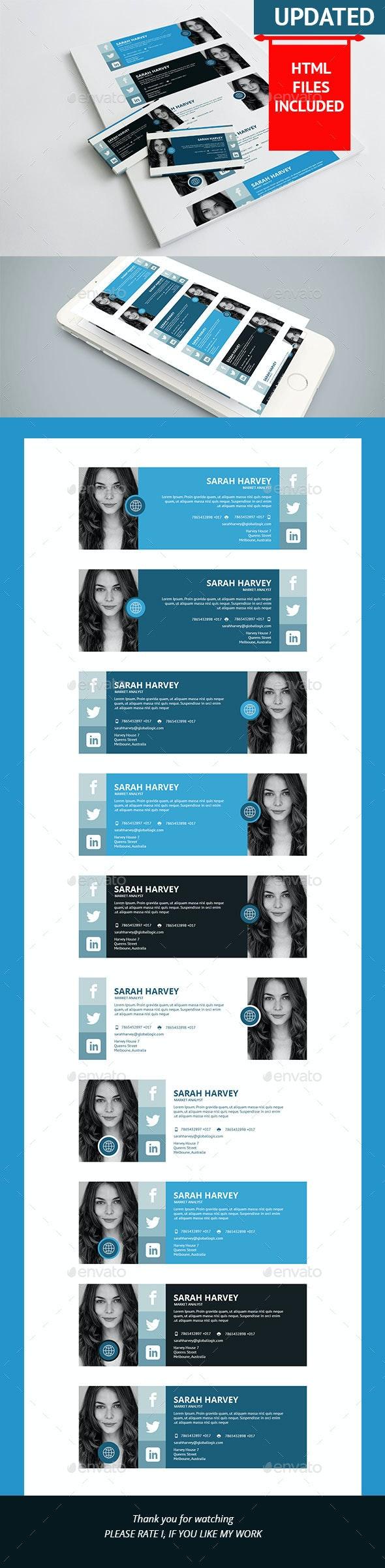10 Corporate E-Signature PSD+HTML Template - Miscellaneous Social Media