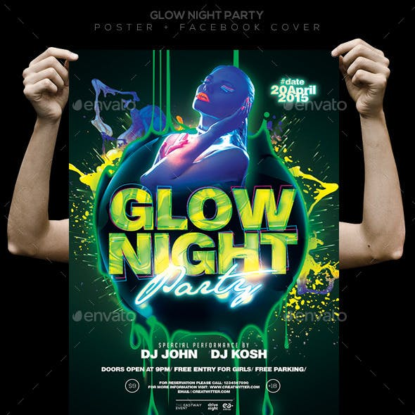 Glow Night Party Flyer/ Poster/ Facebook Cover