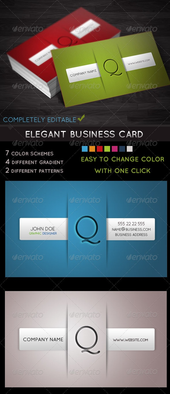 Elegant Business Card - With 7 Different Colors - Creative Business Cards