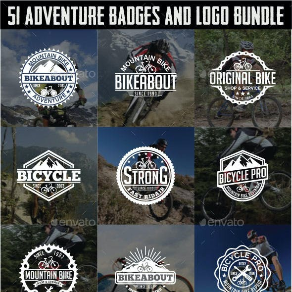 51 Adventure Badges and Logos Bundle