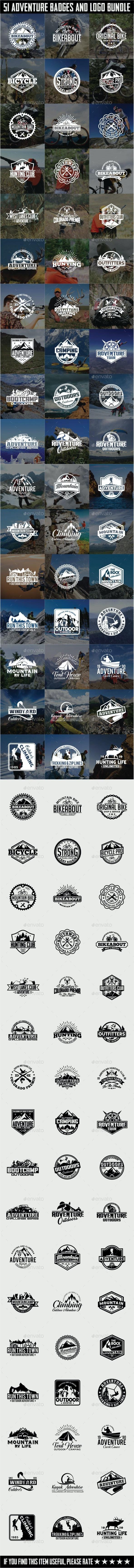 51 Adventure Badges and Logos Bundle - Badges & Stickers Web Elements