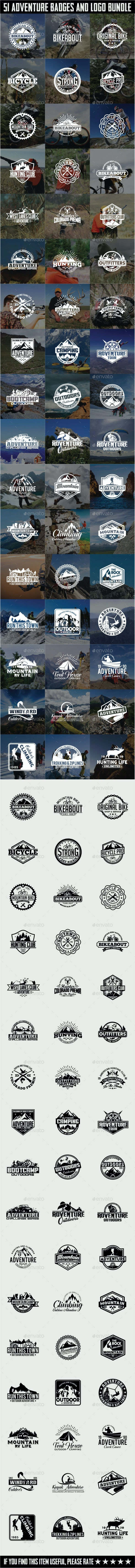 51 Adventure Badges and Logos Bundle - Badges & Stickers Web Elements