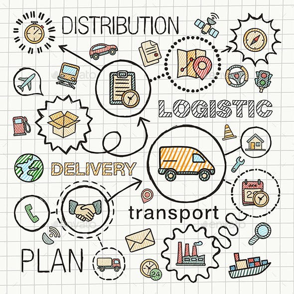 Logistic Sketch Concept with Hand Draw Doodle Icon