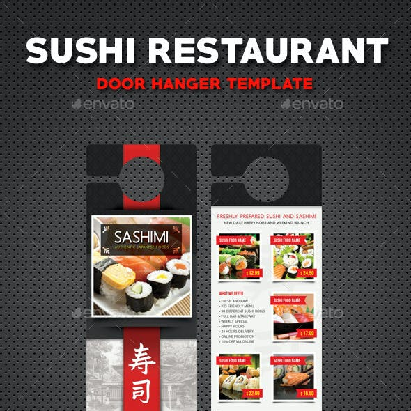 Sushi Restaurant Menu Door Hanger V1