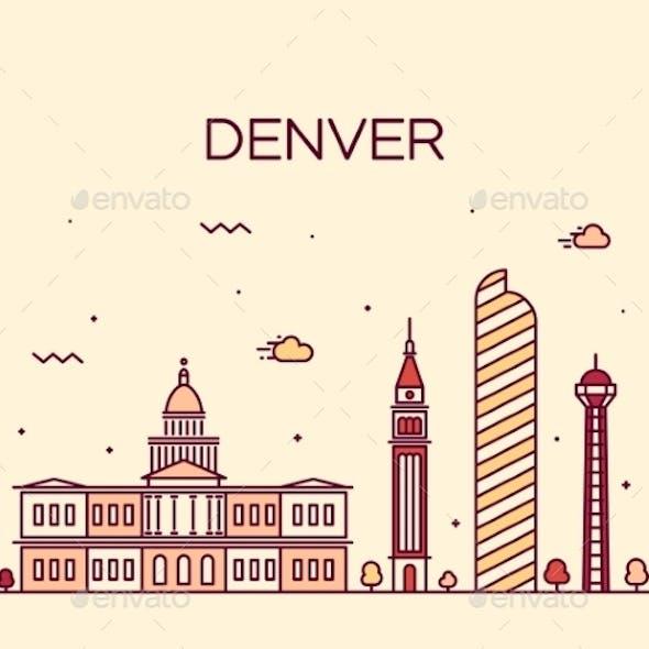 Denver Skyline Trendy Vector Illustration Linear