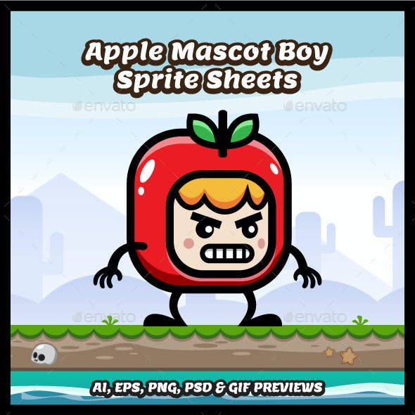 Red Apple Mascot Boy Game Character