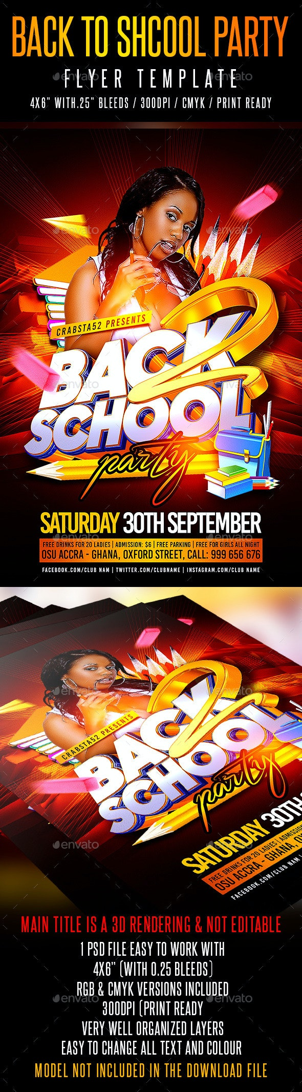 Back to School Party Flyer Template - Events Flyers