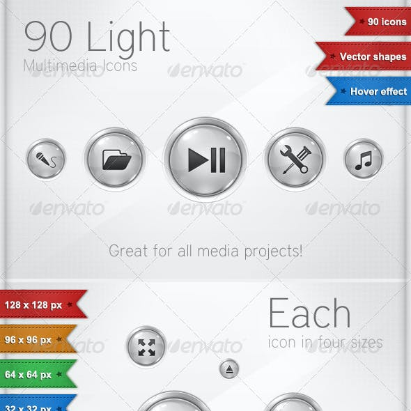 90 Light Multimedia Icons