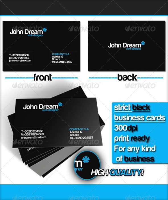 Strict Black Business Card  - Corporate Business Cards