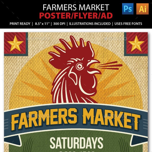 FARMERS MARKET Event Poster, Flyer or Ad