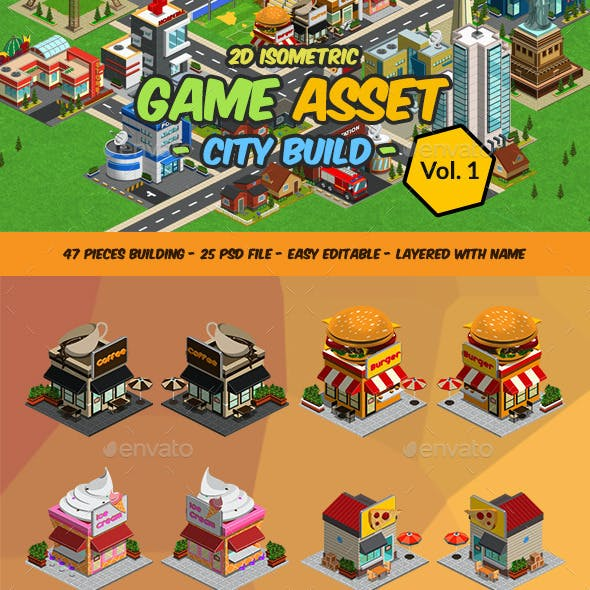 2D Isometric Game Asset - City Build Vol 1 by Rometheme