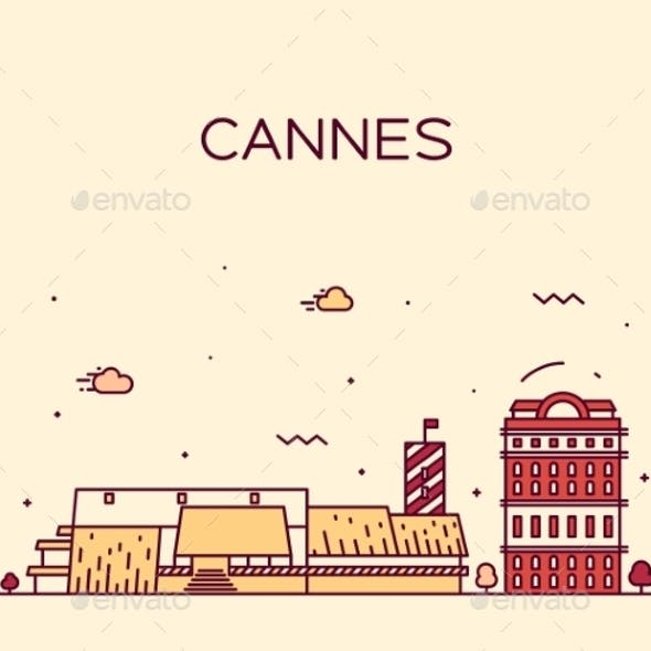Cannes Skyline Trendy Vector Illustration Linear