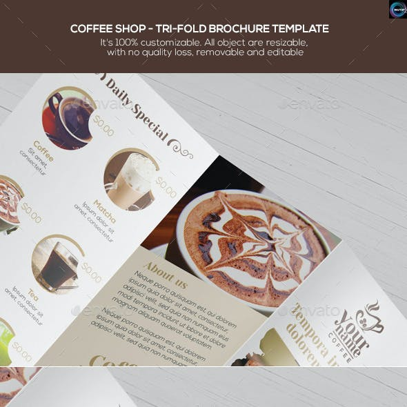 Coffee Shop - Trifold Brochure Template