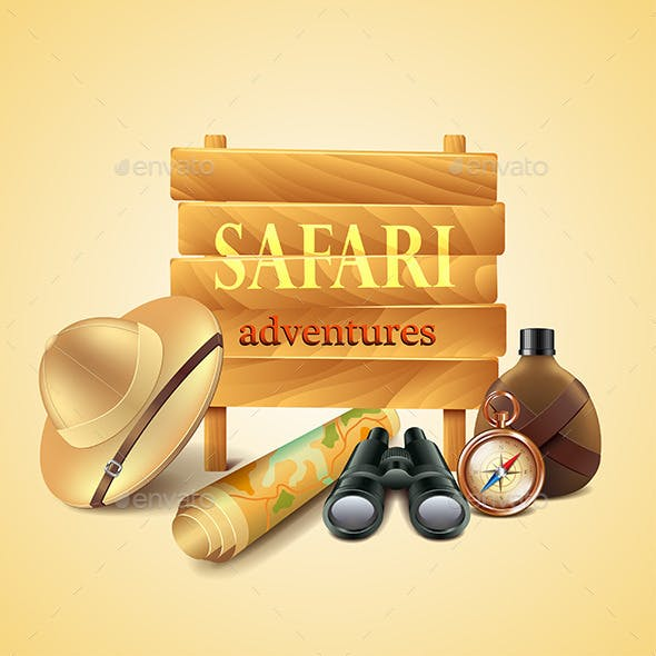 Safari travel Accessories Vector Background