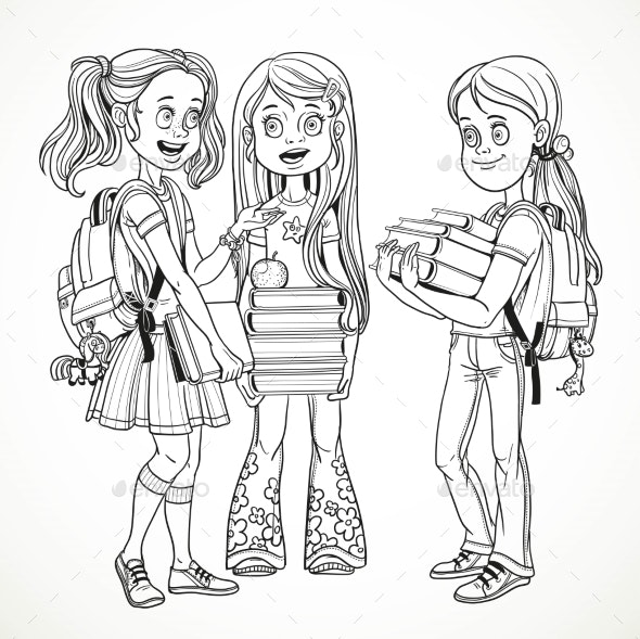Company Schoolgirl with Textbooks and Backpacks - People Characters