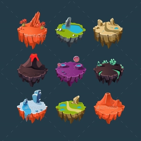Isometric Islands Elements for Games - Landscapes Nature