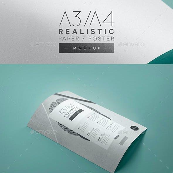 A3/A4 Realistic Paper / Poster Mockup