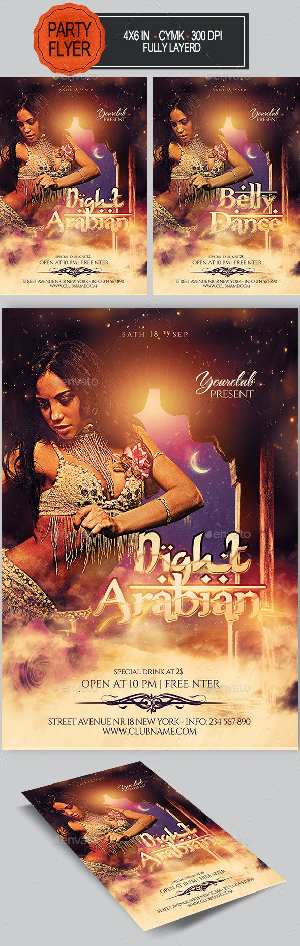 Arabian /Belly Dance Party Flyer - Clubs & Parties Events