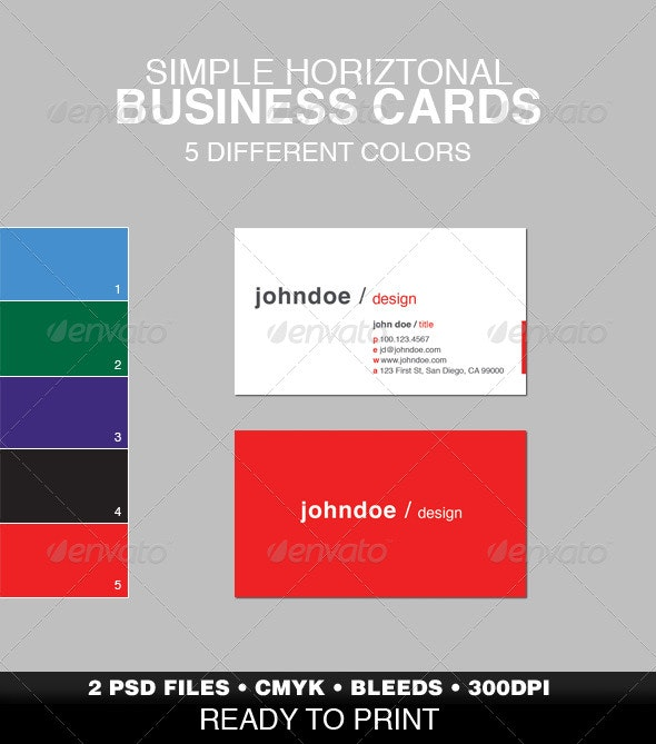 Simple Horizontal Business Card - Corporate Business Cards