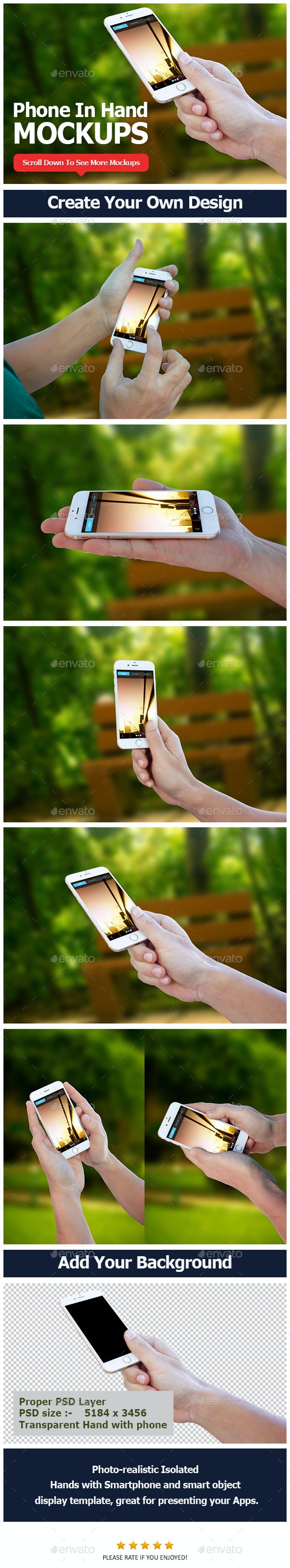 Smartphone in Hand Mockup Vol 2 - Mobile Displays