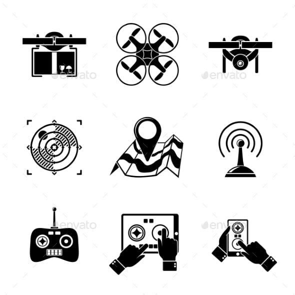 Set Of Drone Icons - With Box, Top View