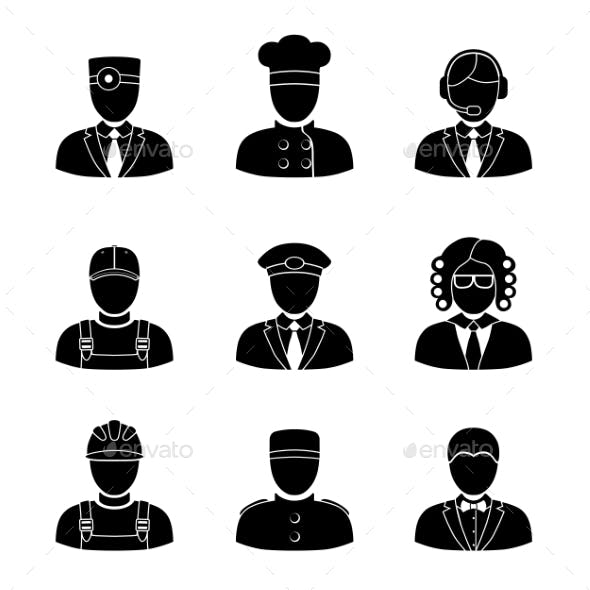Monochrome People Faces Of Different Professions -