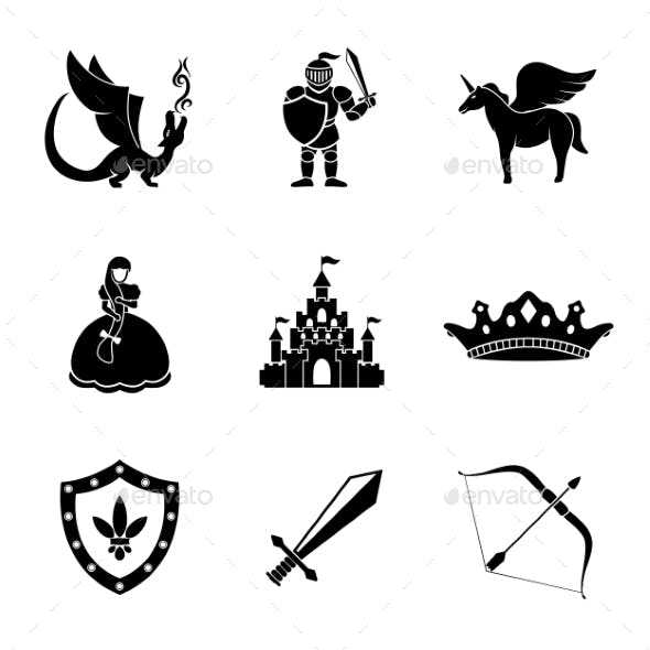 Set Of Monochrome Fairytale, Game Icons With -