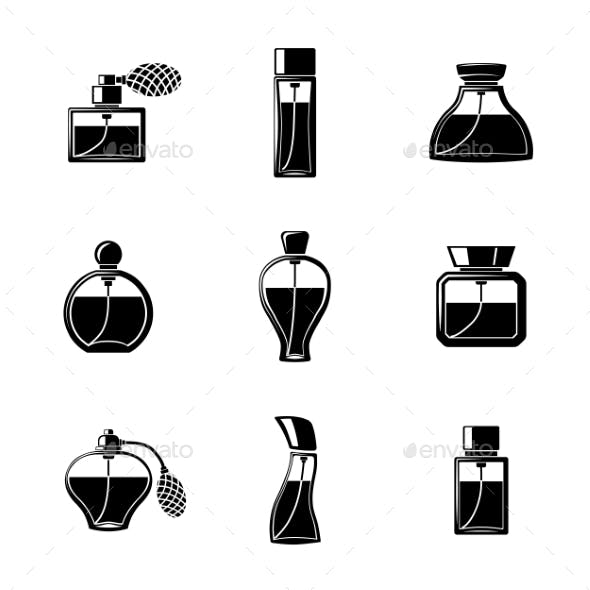 Perfume Icons Set With Different Shapes Of Bottles