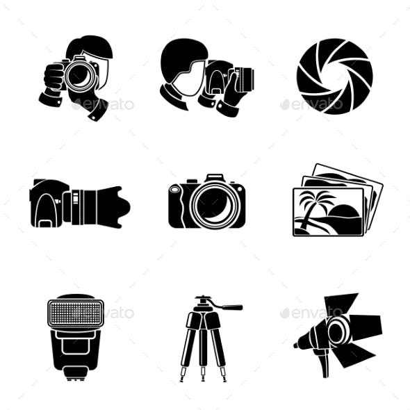 Photographer Monochrome Icons Set With - Shutter