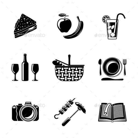 Set Of Monochrome Picnic Icons - Basket, Plate