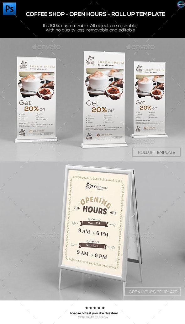 Coffee Shop - Open Hours/ RollUp Template - Signage Print Templates