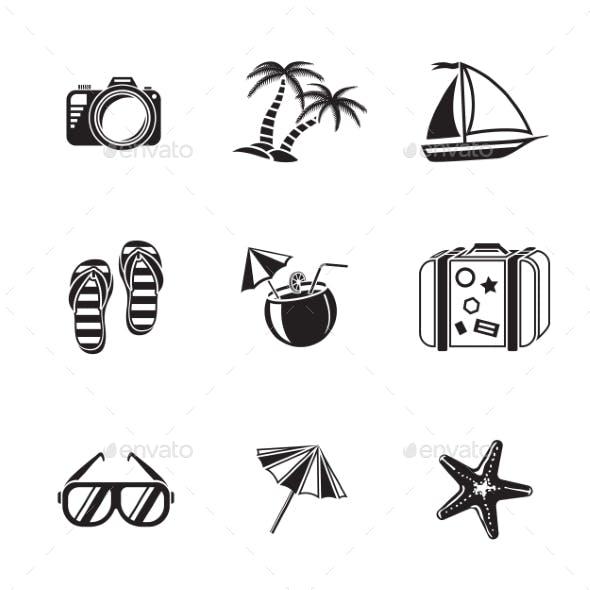 Summer Holidays Monochrome Icons Set