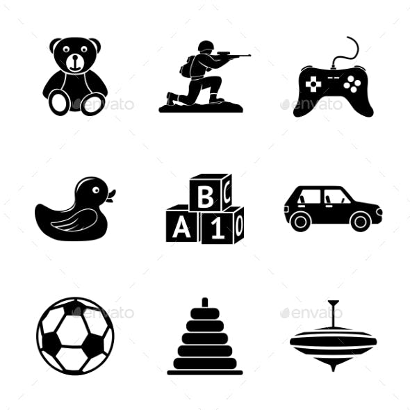Toys Icons Set With - Car, Duck, Bear, Pyramid