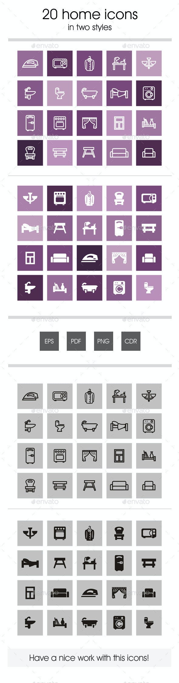 20 home icons - Man-made objects Objects