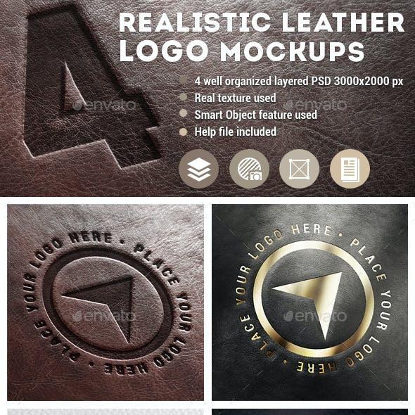 4 Realistic Leather Logo Mockups