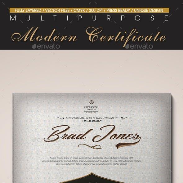 Multipurpose Modern Certificate v.9