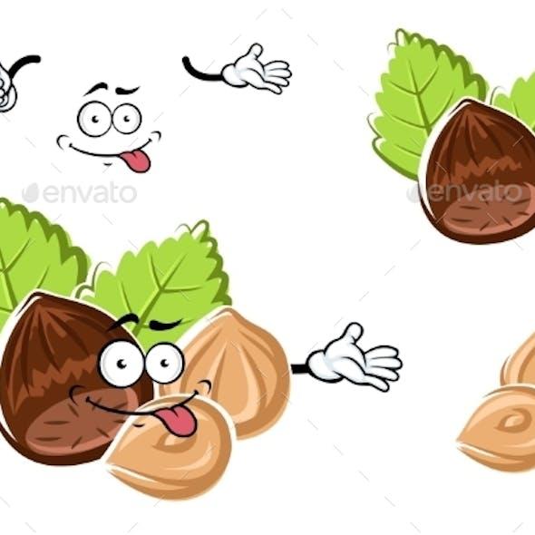 Cartoon Whole And Peeled Hazelnut