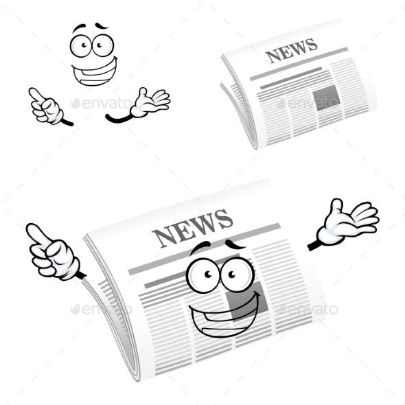 Cartoon Happy Newspaper Icon Character - Characters Vectors
