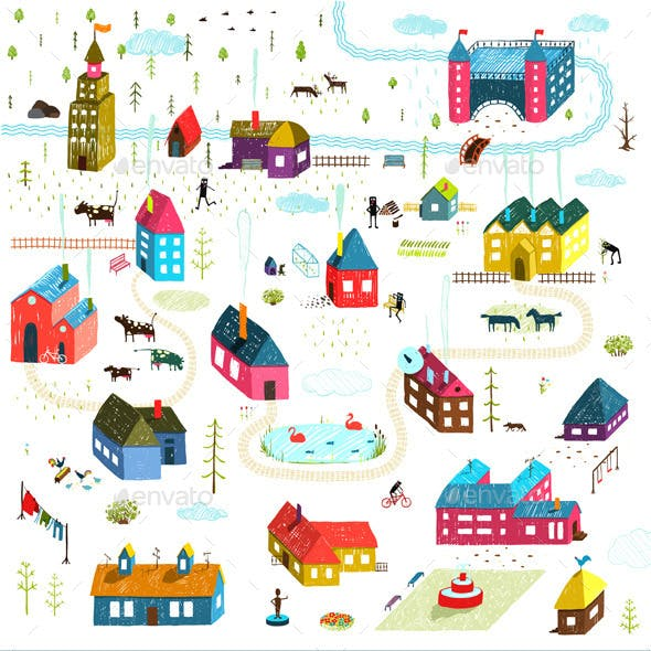 Small Town or City Houses Buildings Landscape