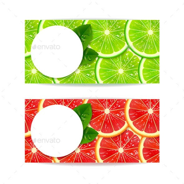Banners with Citrus Fruits