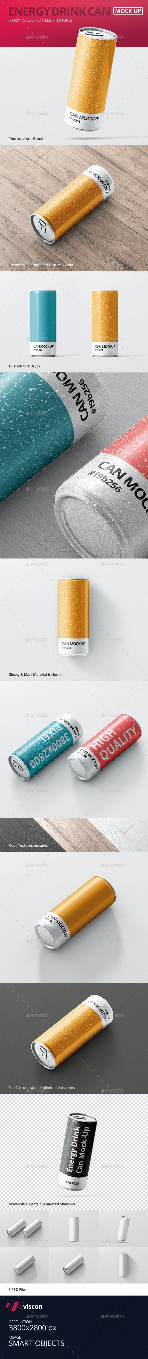 Energy Drink Can Mock-Up - Food and Drink Packaging