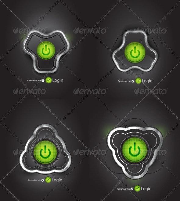 Futuristic Power Buttons - Web Elements Vectors