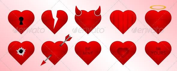 Valentines Day Heart Icons Set - Valentines Seasons/Holidays
