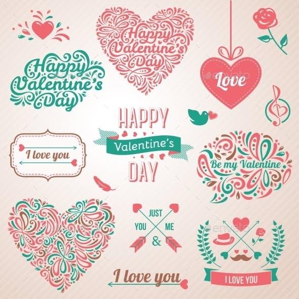 Happy Valentines Day And Weeding Design Elements.
